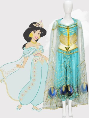 Aladin Princess Jasmine Cosplay Costume With Cloak