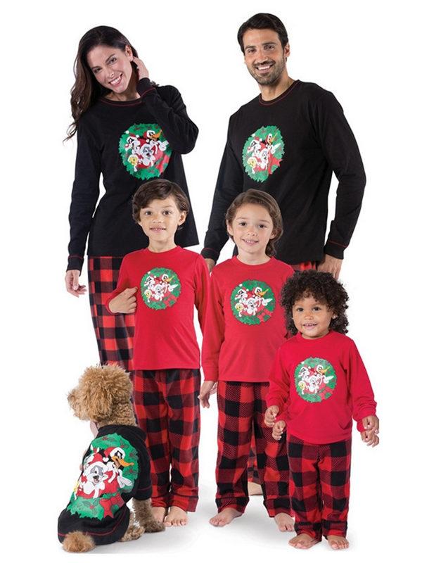 Christmas Family Pajamas Cartoon Print Christmas Matching Jammies Set