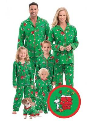 Cartoon Print Christmas Family Pajamas Green Christmas Matching Jammies