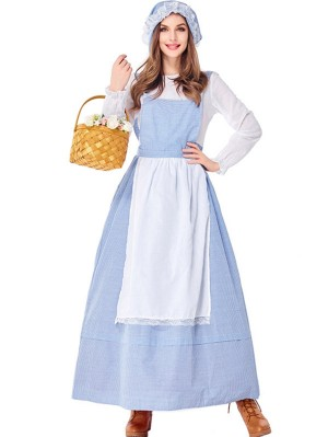 Women's Europe and America Farm Costume Blue Plaid Traditional Rural Dress