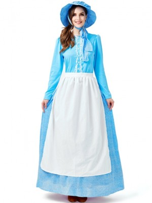 Women's Rural Colony Costume Blue Traditional Farm Dress