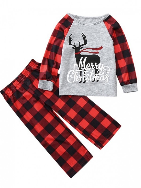 Christmas Family Matching Pajamas Plaid Deer Print Loungewear