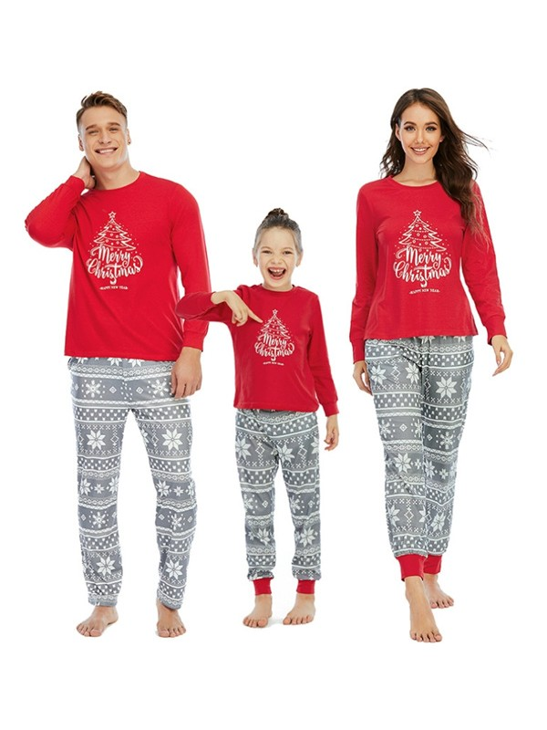 Christmas Tree Print Family Matching Pajamas Christmas Jammies Set