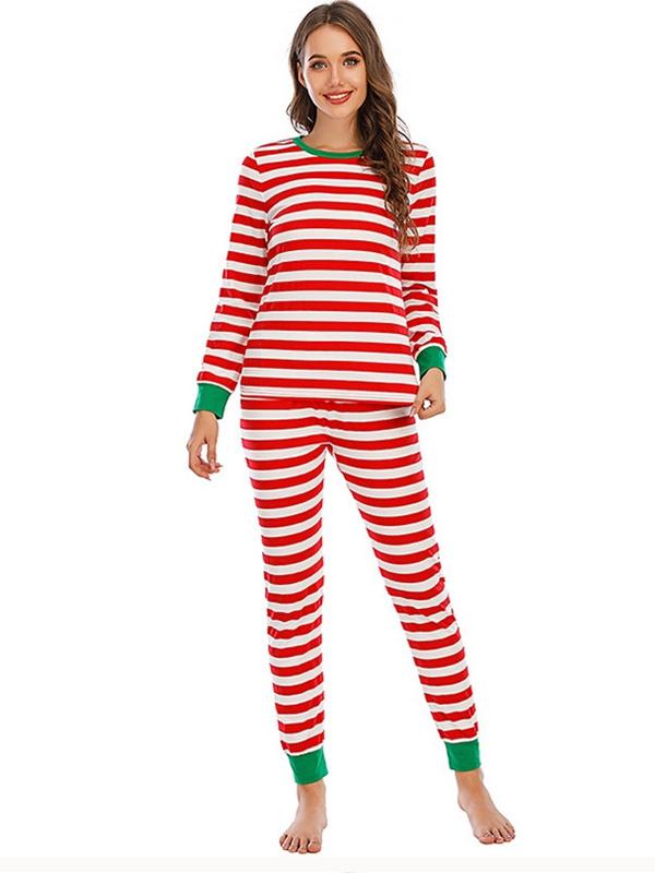 Casual Striped Christmas Pajamas For Family Family Matching Pajamas Set