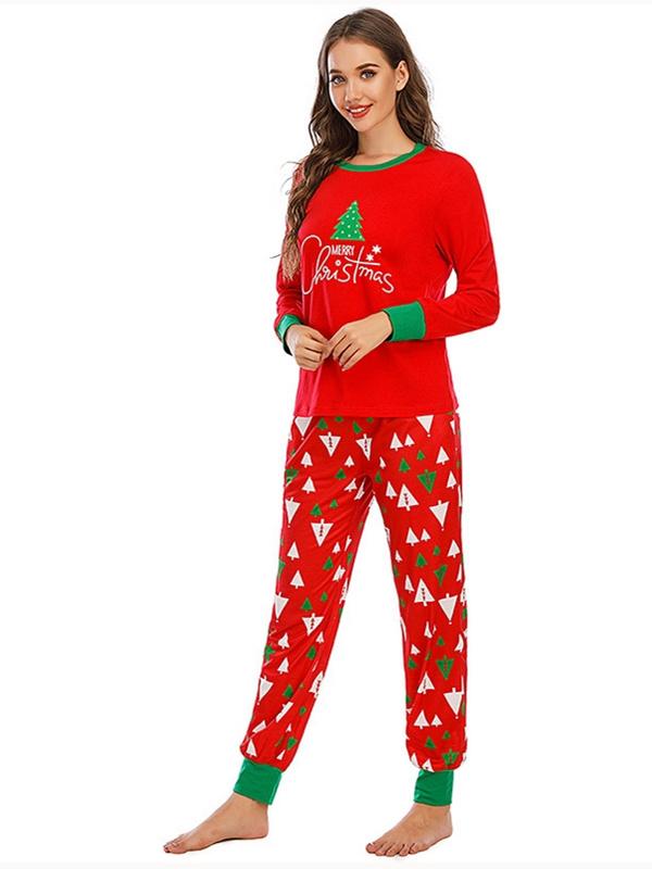 Autumn And Winter Loose Christmas Tree Print Pajamas For Family Christmas Loungewear