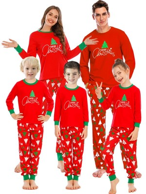 Autumn And Winter Loose Christmas Tree Print Pajamas For Family Christmas Loungewear