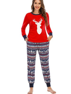 Autumn And Winter Loose Christmas Deer Print Pajamas For Family Christmas Loungewear