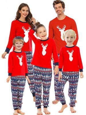 Autumn And Winter Loose Christmas Deer Print Pajamas For Family Christmas Loungewear