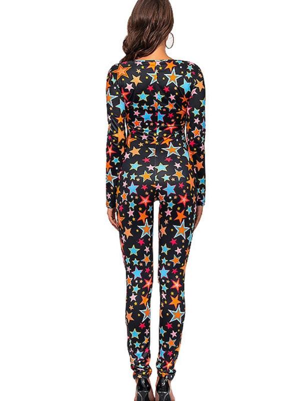 Women's V-neck Long Sleeve Stars Print Christmas Jumpsuit