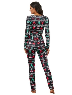 Women's V-neck Long Sleeve Elk Print Christmas Jumpsuit