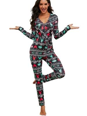 Women's V-neck Long Sleeve Elk Print Christmas Jumpsuit