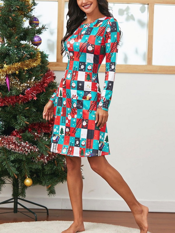 Women's Round Neck Plaid Long Sleeve Christmas A-line Dress