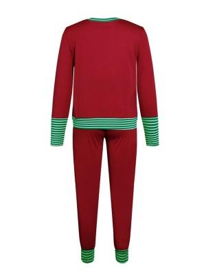 Women's Casual Print Long Sleeve Christmas Pajamas Set