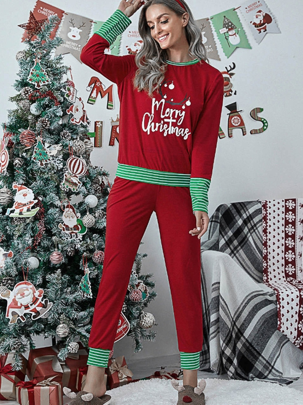 Women's Casual Print Long Sleeve Christmas Pajamas Set
