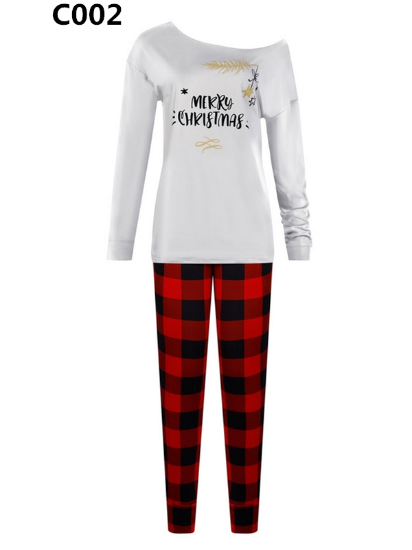 Women's Long Sleeve Print Top Paid Pant Christmas Outfit Set