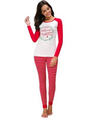 Women's Casual Christmas Outfit Set Striped Christmas Pajamas