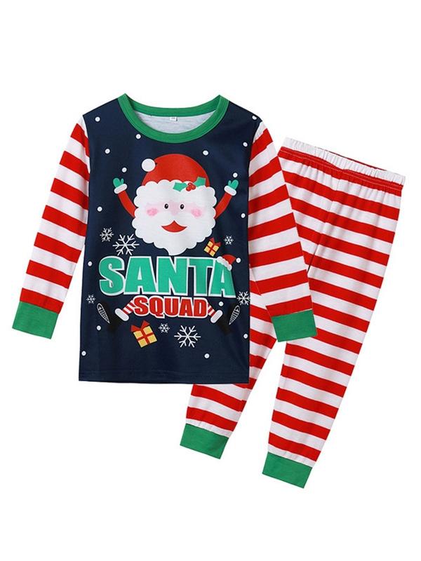 Christmas Matching Pajamas For Family Striped Cute Santa Print Pajamas Set