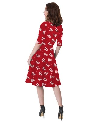 Women's Round Neck Half Sleeve Christmas Print Christmas Dress