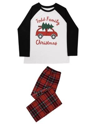 Christmas Matching Pajamas For Family Car Towing Christmas Tree Print Pajamas Set
