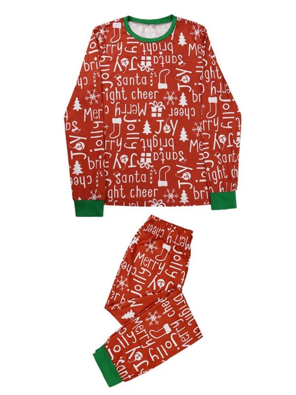 Christmas Matching Pajamas For Family Letters Print Pajamas Set