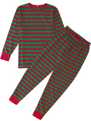 Christmas Matching Pajamas For Family Red And Green Striped Pajamas Set