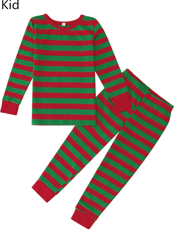 Christmas Matching Pajamas For Family Red And Green Striped Pajamas Set