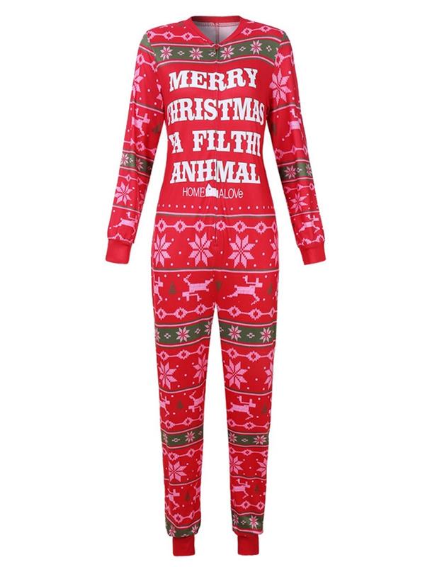 Women's Casual Loose Merry Christmas Print Christmas Pajamas Jumpsuit