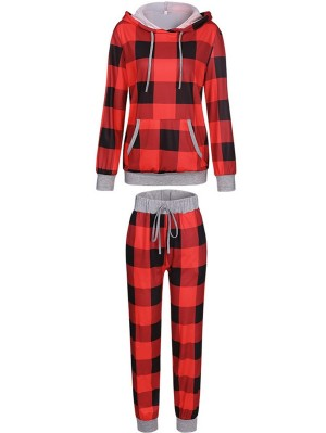 Women's Long Sleeve Plaid Print Christmas Hoodie Pant Sets