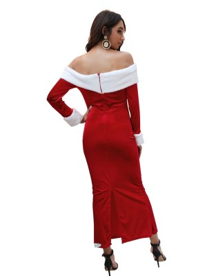 Women's Split Off The Shoulder Christmas Eevning Dress