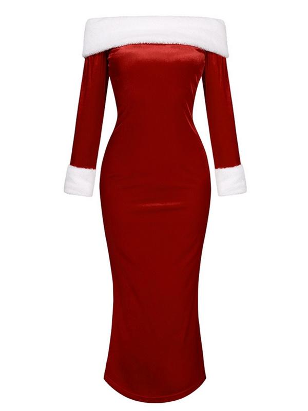Women's Split Off The Shoulder Christmas Eevning Dress