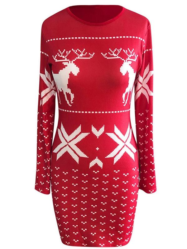 Women's Round Neck Long Sleeve Christmas Print Knit Bodycon Dress