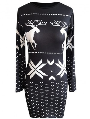 Women's Round Neck Long Sleeve Christmas Print Knit Bodycon Dress