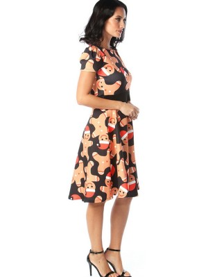 Women's Round Neck Short Sleeve Christmas Print Dress