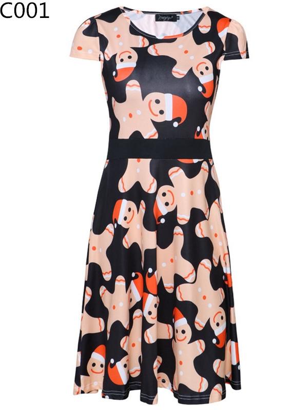Women's Round Neck Short Sleeve Christmas Print Dress