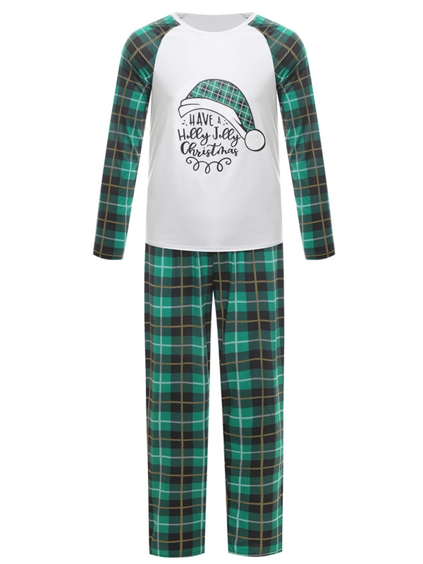 Autumn/Winter Plaid Christmas Family Matching Pajamas Set Christmas Hat Print