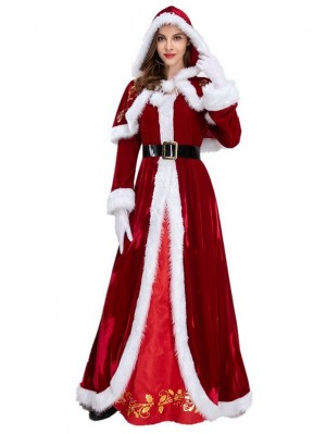 Women's Long Red Christmas Dress Santa Claus Costume