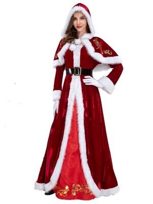 Women's Long Red Christmas Dress Santa Claus Costume
