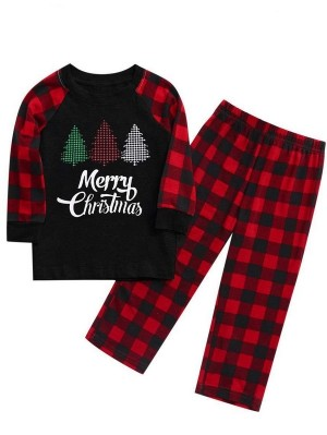 Christmas Matching Pajamas For Family Plaid Christmas Tree Print Pajamas Set