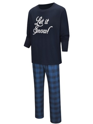Christmas Matching Pajamas For Family Let It Snow Letters Print Pajamas Set