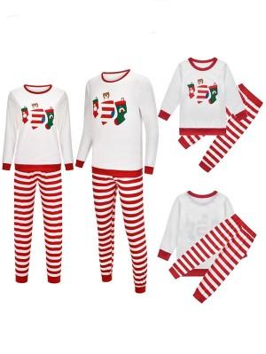 Christmas Red Striped Matching Family Pajamas Christmas Stocking Print Pajamas Set