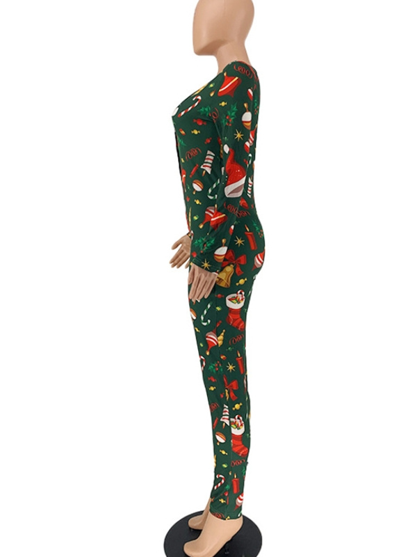 Women's V-neck Cartoon Print Slim-fit Christmas Jumpsuit