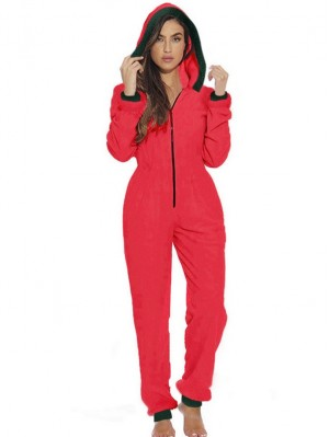 Women's Zipper Front Solid Hooded Christmas Plush Jumpsuit