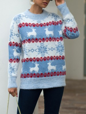 Women's Round Neck Snowflake Deer Long Sleeve Christmas Sweater