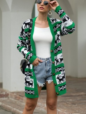 Women's Christmas Deer Cardigan Long Sweater Coat