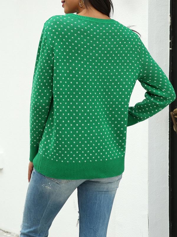 Women's Casual Long Sleeve Deer Jacquard Christmas Sweater