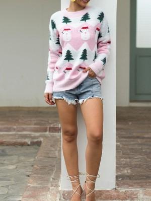Women's Long Sleeve Christmas Tree Snowman Christmas Sweater