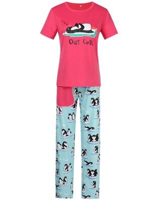 Christmas Matching Pajamas For Family Penguin Print Pajamas Set