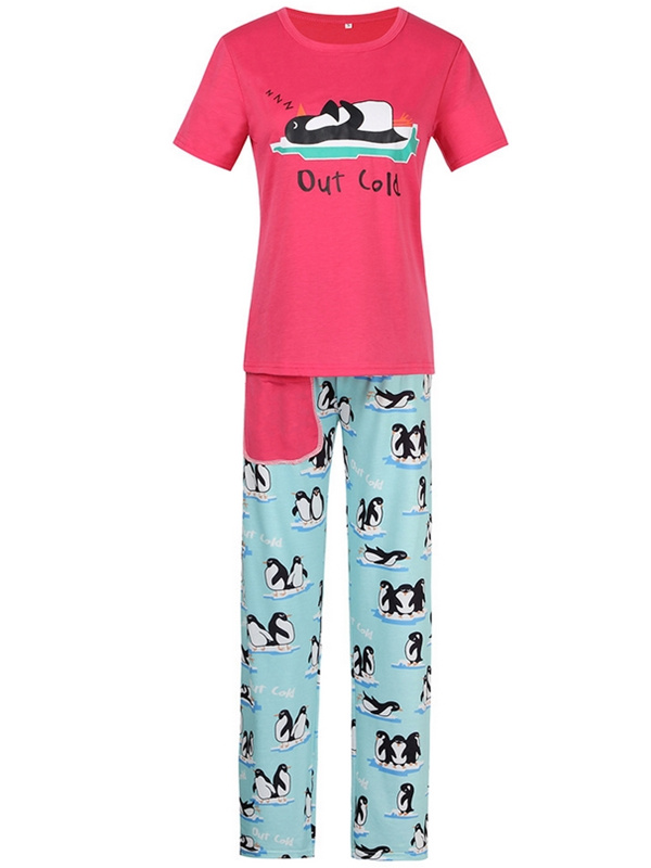 Christmas Matching Pajamas For Family Penguin Print Pajamas Set