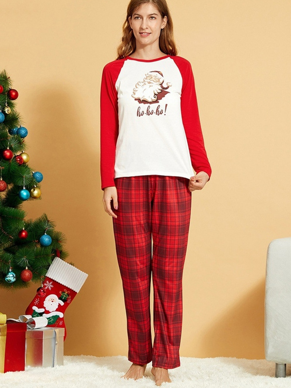 Christmas Matching Pajamas Family Plaid Santa Claus Print Pajamas Set