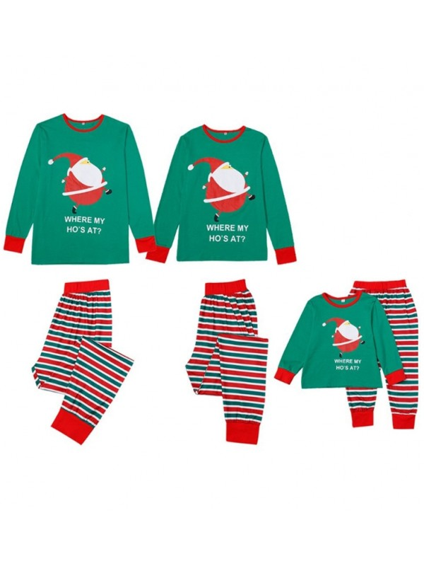 Cute Santa Claus Print Family Pajamas Set Striped Christmas Matching Pajamas